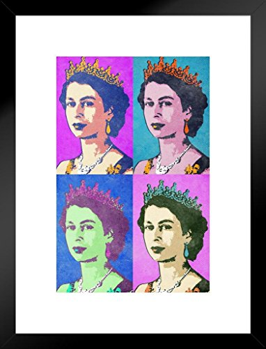 (Poster Foundry Queen Elizabeth II Bright Pop Art Print Matted Framed Wall Art 20x26 inch)