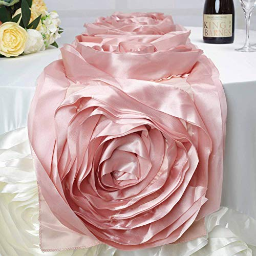 BalsaCircle 13 x 104-Inch Blush Satin Large Raised Roses Table Runner Table Linens Wedding Party Events Decorations Dining Catering