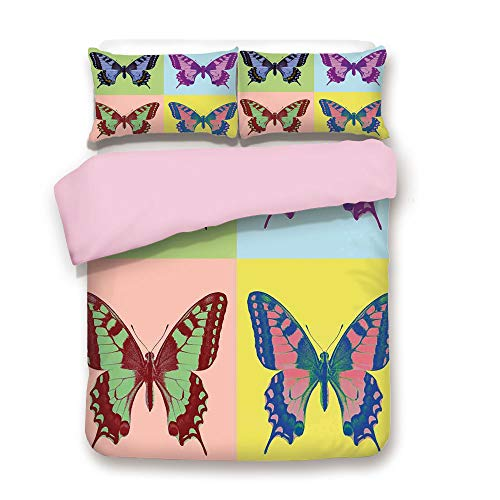 - Pink Duvet Cover Set,FULL Size,Pop Art Swallowtail Pavilions Wild Life Transcendent Energies of Miraculous Wings,Decorative 3 Piece Bedding Set with 2 Pillow Sham,Best Gift For Girls Women,Multi