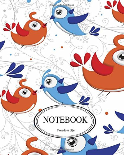 """Download Notebook: Orange Blue Birds : Pocket Notebook Journal Diary, 110 pages, 8"""" x 10"""" (Notebook Lined,Blank No Lined) PDF"""