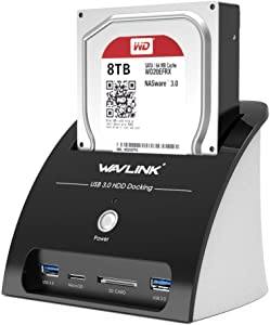 WAVLINK USB 3.0 to SATA External Hard Drive Docking Station with 2USB 3.0 HUB and TF & SD Card for 2.5 inch/3.5 Inch HDD,SSD Support Backup/UASP Functions [10TB ]