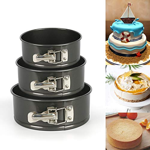 (Owfvlazi Nonstick Springform Pan Set Leakproof Round Baking Pie Cheese Cake Molds Pan Set with Quick Release Latch and Removable Bottom)