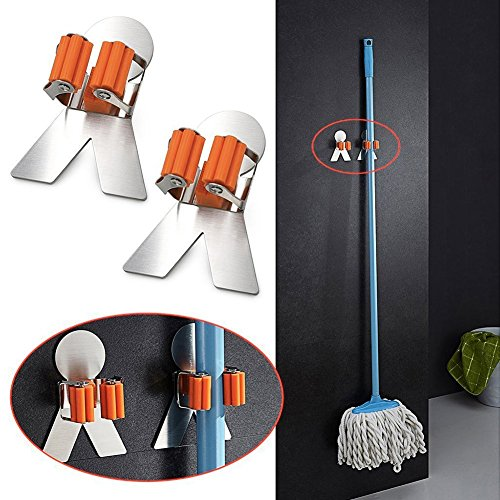 2 Piece Broom Holder Device Holder Wall Mounted Stainless Steel, Bathroom Kitchen Organizer Rack with 3M Self Adhesive