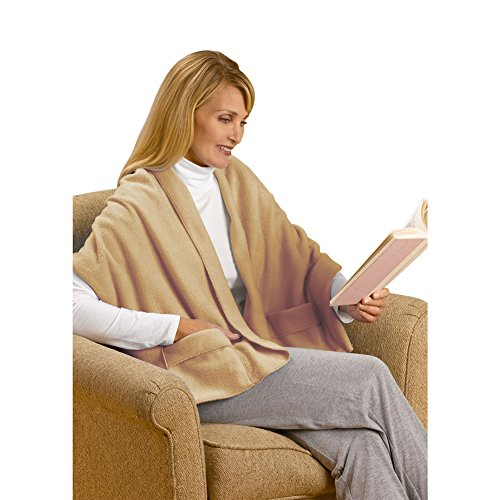 "Unisex Adult Warm Polyester Fleece Shawl Blanket Cover with Pockets - 20"" x 58"" - Camel"