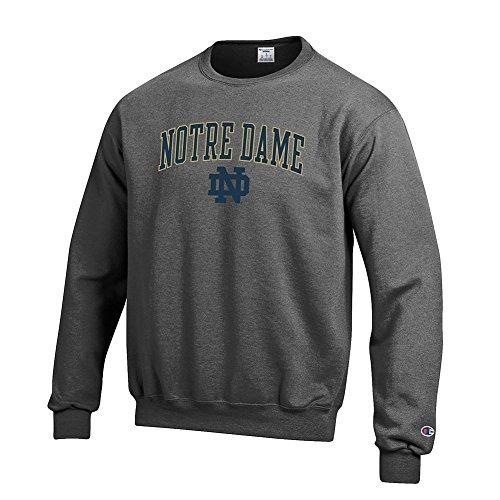 Elite Fan Shop Notre Dame Fighting Irish Crewneck Sweatshirt Charcoal - M - Notre Dame Irish Crew Sweatshirt