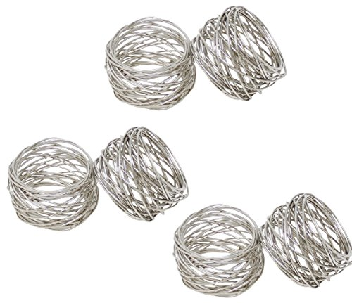 SKAVIJ Handmade Silver Napkin Rings Set of 6 Metal Mesh for Weddings Dinner Parties or Every Day Use