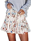 Seven Young Women Girls Chiffon Floral Printed Pleated Skirts Beach Party Puff Mini Dress (X-Large)