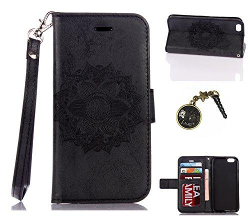 Para Smartphone Apple Iphone 6(4.7pulgadas) Carcasa, Piel Funda para Apple iPhone 6(4.7pulgadas) Flip Cover Funda Libro Con Tarjetero Función Atril magnético + Polvo Conector rojo 2 6