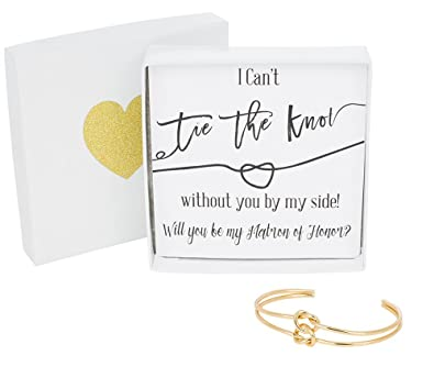 Bridesmaid Gifts - Tie The Knot Matron of Honor Cuff Bracelet with Gift Box Adjustable  sc 1 st  Amazon.com & Amazon.com: Bridesmaid Gifts - Tie The Knot Matron of Honor Cuff ...
