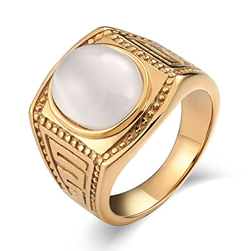 Daesar Stainless Steel Ring Cubic Zirconia Rings for Men Ring Gold Retro CZ Ring White Ring Size 8 (Oriental Design Necklace Set)