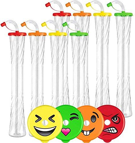 Emoji Yard Cups Party 8-PACK - for Margaritas, Cold Drinks, Frozen Drinks, Kids Parties - 20 oz. (600 ml) - set of 8 Yard Cups. BPA Free and Crack Resistant (Assorted/Random Emojis on lids) ()