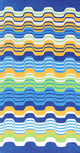 Bahia Collection by Dohler Multicolor Waves Brazilian Velour Beach Towel 40x72 Inches by Bahia Collection by Dohler