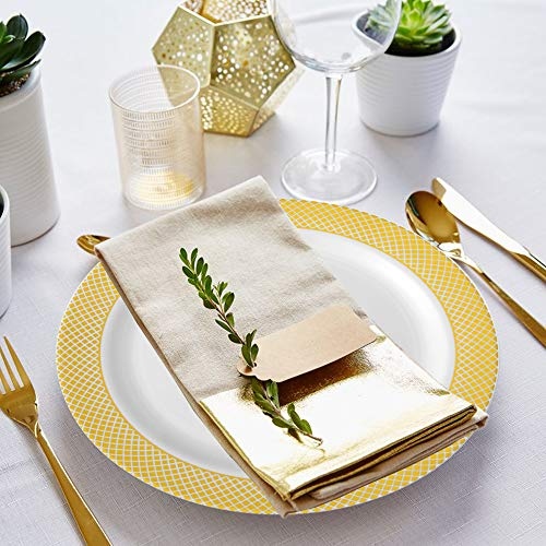 77 pieces Gold Disposable Plastic Plates- Gold Rim Wedding Party Plates,Premium Heavy Duty 12-10.25