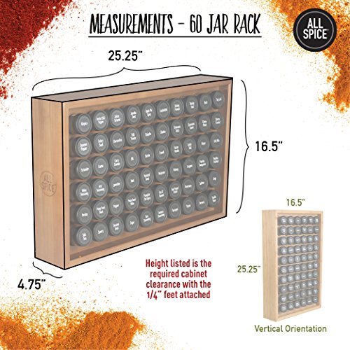 AllSpice Wooden Spice Rack, Includes 60 4oz Jars- Walnut by AllSpice (Image #2)