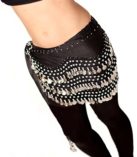 Black Belly Dance Hip Scarf Abs Chiffon Skirt