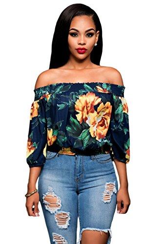 Nuevas señoras azul marino Floral off-the-shoulder parte superior Club Wear verano Casual Tops tamaño M UK 10–�?2-eu 38–�?0