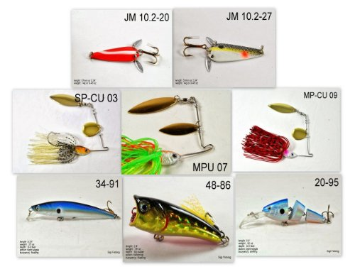 Akuna [IN] Pros' pick recommendation collection of lures for Bass, Panfish, Trout, Pike and Walleye fishing in Indiana(Bass 8-A)