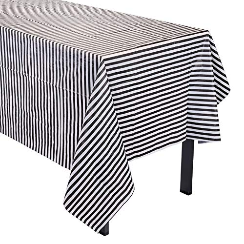 Topoox 4 Pack Black and White Striped Tablecloths Plastic Picnic Table Covers - 54 x 108 Inches -