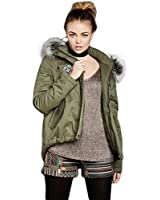 Envy Boutique Women's Fur Hooded Parka Peached Badged Jacket Coat