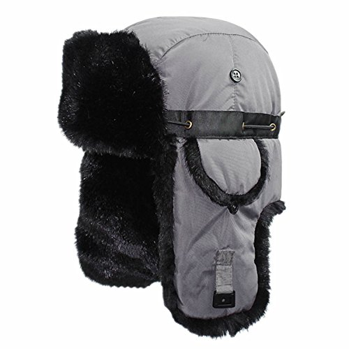 Price comparison product image Home Prefer Mens Winter Trooper Trapper Hat Russian Ushanka Windproof Skull Cap with Ear Flaps Fur Hat Gray