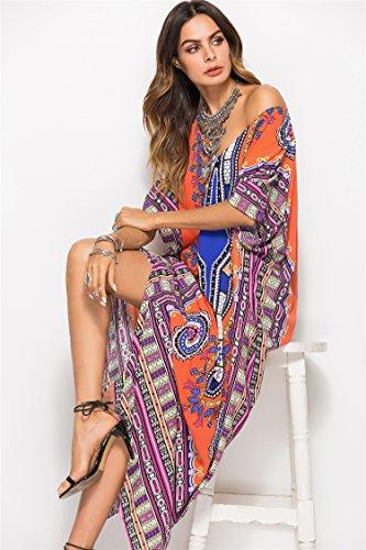 Dress Summer Ethnic Print Orange Beach Women's Maxi Life White Kaftan SMUDGE Dress qw780tx