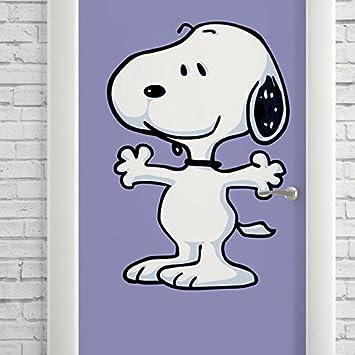 Adesivo Decorativo De Porta Desenho Snoopy Preto Brando E Roxo