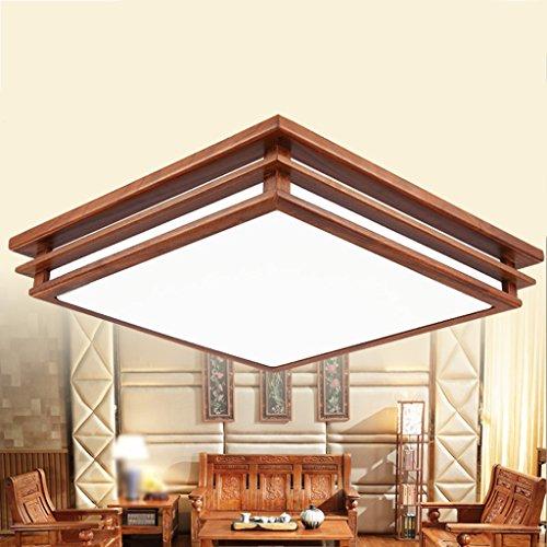 Ywyun Lampe De Plafond En Bois Rouge Moderne, Lampe De Plafond En Bois  Massif LED