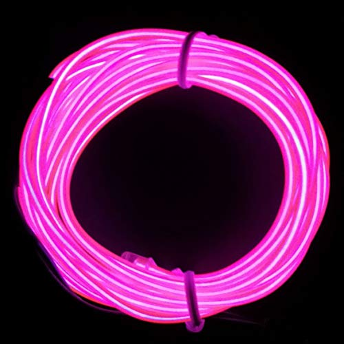 M.best Flexible LED Neon Light Glow EL Wire Rope Tape Cable Strip Decoration + Controller (15FT, Pink)]()