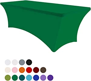 Eurmax 6Ft Rectangular Fitted Spandex Tablecloths Wedding Party Table Covers Event Stretchable Tablecloth (Emerald Green)