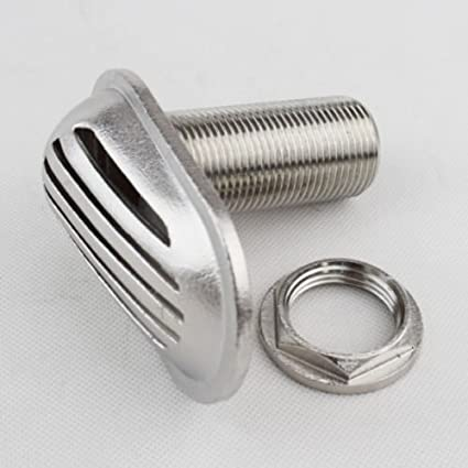 """STAINLESS STEEL THRU-HULL WATER OUTLET 1/"""" Marine 316 Stainless Steel"""
