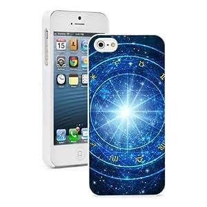 Apple iPhone 5c Hard Back Case Cover Color Astrology Wheel Zodiac Symbols (White)