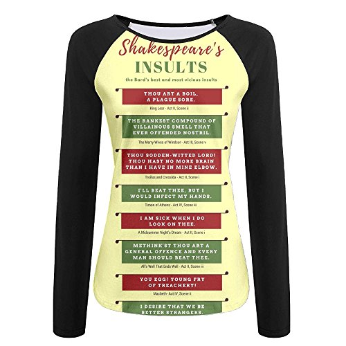 (Quzim Shakespeare's Insults repertory Jersey Baseball Tee T Shirts For Women Tshirt Long Sleeve)