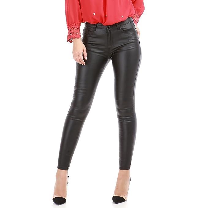6872f7f238ea La Modeuse - Pantalón para Mujer Copa Slim Piel sintética Efecto ...