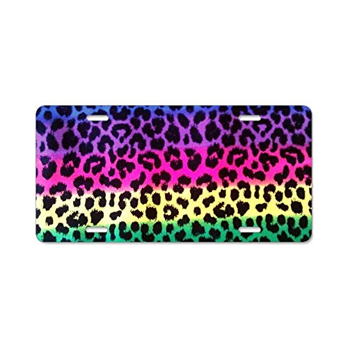 YEX Neon Rainbow Animal Print License Plate with 4 Holes Novelty Car Licence Plate Covers Tag Sign 12