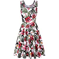 HHei_K Womens Summer Casual Boho Floral Print Sleeveless O-Neck Fit Flare Mini Dress Tank Dress