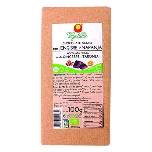 Vegetalia, Barrita grande de chocolate (Jengibre y naranja) – 100 gr.