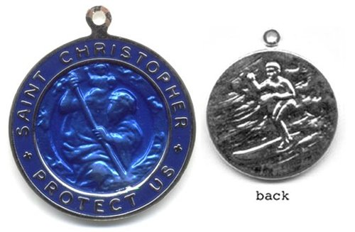 St. Christopher Silver Plated Colored Surf Medal - Large Royal Blue/Royal Blue