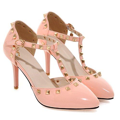 AIYOUMEI Damen Lack Spitz Knöchelriemchen T-Spangen Pumps mit Nieten und 8cm Absatz Stiletto High Heel Elegant Schuhe Rosa