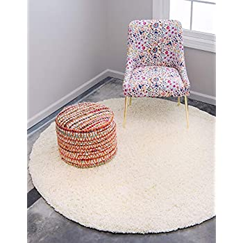Unique Loom Solo Solid Shag Collection Modern Plush Pure Ivory Round Rug (8' 2 x 8' 2)