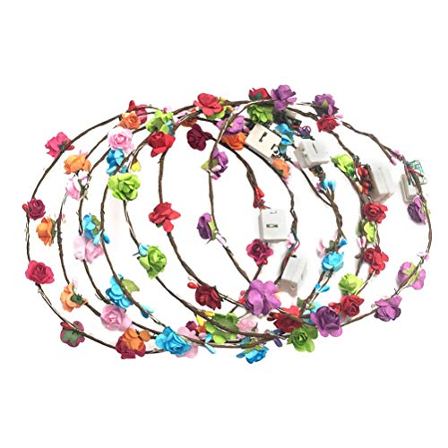 BESTOYARD 3pcs Light Up flower Crown headbands for
