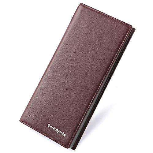 Women Leather Wallet Luxury Bifold Long Slim Hit Color Card Holder Clutch Purse (Burgundy)