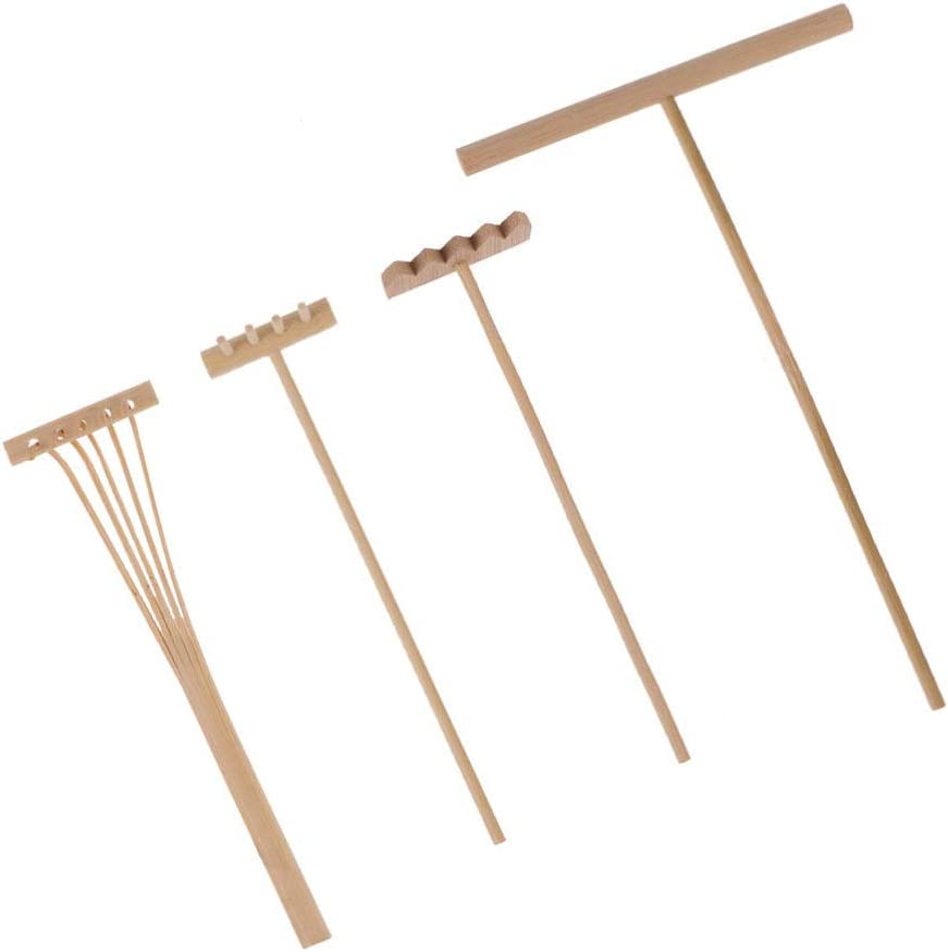 Healifty 4pcs Mini Rakes Tool Set Zen Garden Rake Ornament Sand Bamboo Rake Rock Push Drawing Pen Fidget Toy Dollhouse Feng Shui Decor