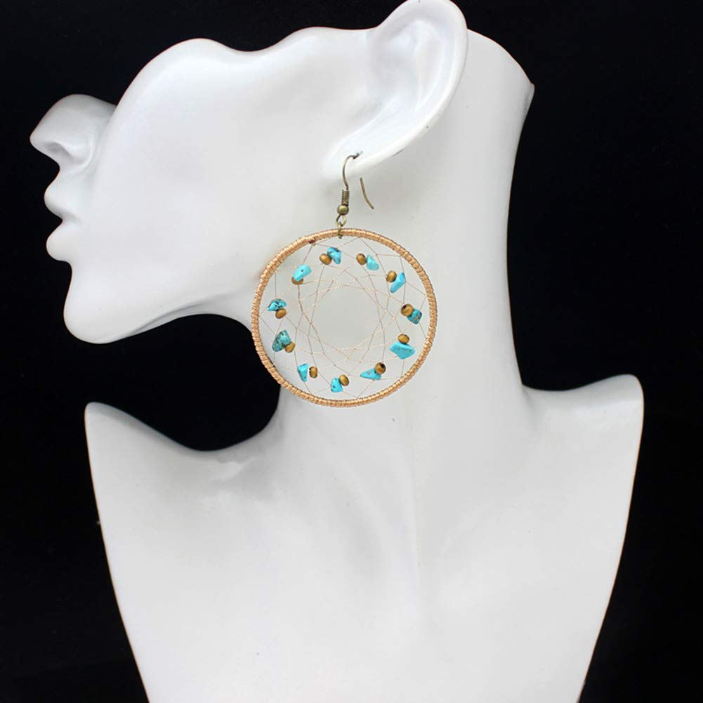 Mosichi New Style Earrings Boho Big Hollow Circle Silk Wrapped Braided Dream Catcher Earrings Jewelry Gift