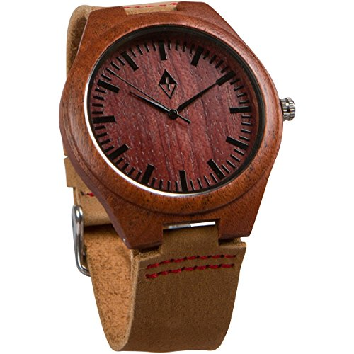 Woodgrain Wooden Watch with Genuine Leather Strap Analog Casual Wood Watches by Woodgrain Watches