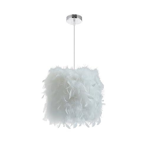 STOEX E27 Lustre Suspension en Plumes Blanche 23cm 40W, Abat-jour  Rétractiles Luminaire Plafonnier pour Chambre de l\'enfant, Salon, Décor
