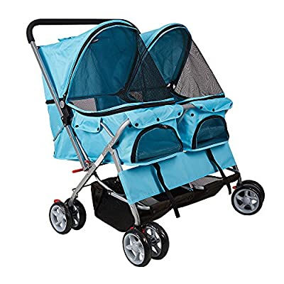 Lucky Tree Twin Double Pet Stroller Folding 4-Wheel Dog Cat Travel Carrier