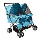 Lucky Tree Twin Double Pet Stroller Folding 4-Wheel Dog Cat Travel Carrier (blue)