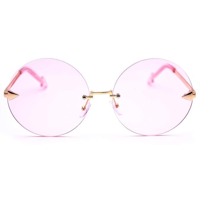Amazon.com: SamuRita - Gafas de sol redondas sin borde con ...