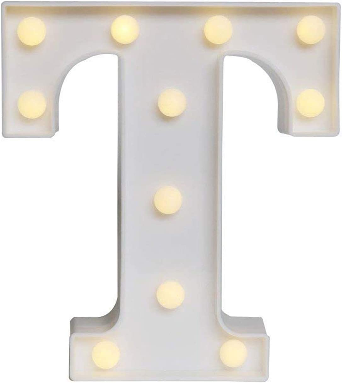 Ogrmar Decorative Led Light Up Number Letters, White Plastic Marquee Number Lights Sign Party Wedding Decor Battery Operated (T)