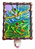 Continental Art Center NL9702 Hand Painted Glass with Night Light Tree Frog, 5.2 by 5.6 by 1.6-Inch